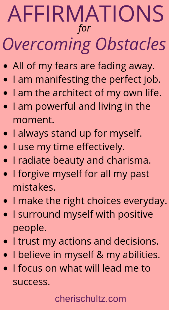 Affirmations Overcoming Obstacles